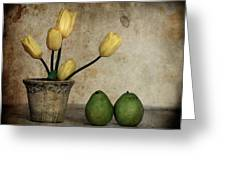 Tulips And Green Pears Greeting Card