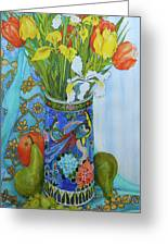 Tulips And Iris In A Japanese Vase, With Fruit And Textiles Greeting Card