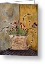 Tulips And The Lovely Bee Greeting Card