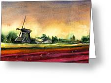 Tulips And Windmill From The Netherlands Greeting Card