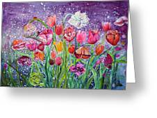 Tulips Are Magic In The Night Greeting Card