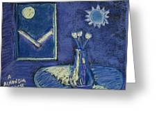 Tulips By Moonlight - Blue Notes Version Greeting Card