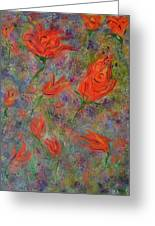 Tulips- Floral Art- Abstract Painting Greeting Card