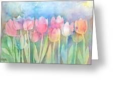 Tulips In A Row Greeting Card by Arline Wagner