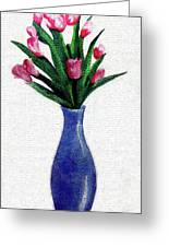 Tulips In A Tall Vase Greeting Card
