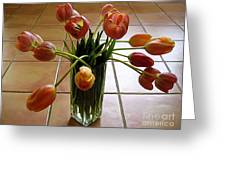 Tulips In A Vase On Tile Greeting Card