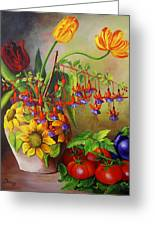 Tulips In A Vase With Some Tomatoes Greeting Card