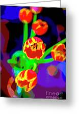 Tulips In Abstract Greeting Card