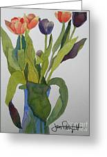 Tulips In Blue Vase Greeting Card