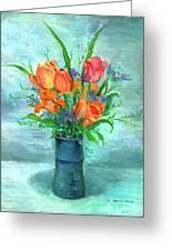Tulips In Bluevase Greeting Card by Ethel Vrana