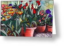 Tulips In Clay Pots Greeting Card