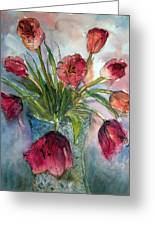 Tulips In Rosie's Vase Greeting Card