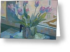 Tulips On A Window  Greeting Card
