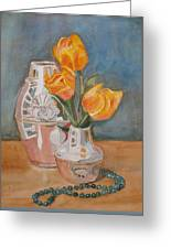 Tulips Jade And Books Greeting Card