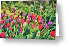 Tulips. Monet Style Digital Painting. Greeting Card
