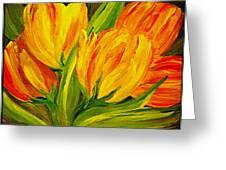 Tulips Parrot Yellow Orange Greeting Card