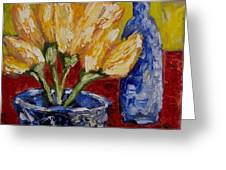 Tulips With Blue Bottle Greeting Card