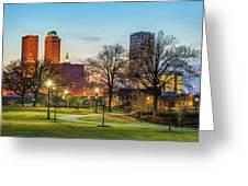 Tulsa Night City Skyline - Centennial Park Cityscape Greeting Card by Gregory Ballos