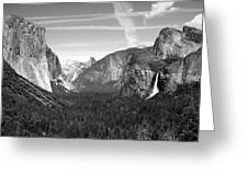 Tunnel View Yosemite B And W Greeting Card