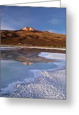 Tunupa Volcano Reflected In Salar De Uyuni At Twilight Bolivia Greeting Card