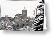 Tures Castle In The Snow Greeting Card