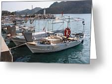 Turkish Fishing Boats Moored At Bozburun Greeting Card