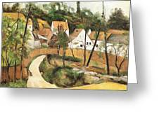 Turn In The Road Reproduction Of Cezannes Work. Greeting Card