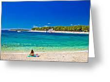 Turquoise Adriatic Beach In Primosten Greeting Card