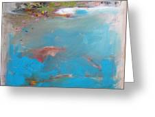 Turquoise And Dirty White Abstract Greeting Card by Brooke Wandall