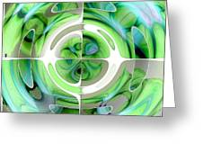 Turquoise And Green Abstract Collage Greeting Card