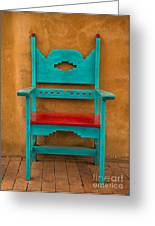Turquoise And Red Chair Greeting Card