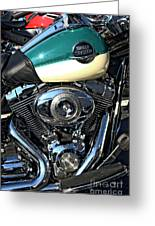 Turquoise And White Harley Tank And Motor Greeting Card