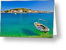 Turquoise Beach And Boat In Rogoznica Greeting Card