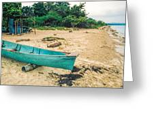 Turquoise Canoe Negril Greeting Card
