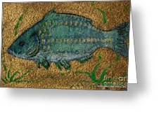 Turquoise Carp Greeting Card by Anna Folkartanna Maciejewska-Dyba