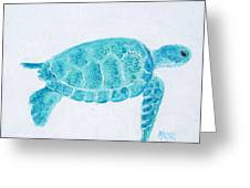 Turquoise Marine Turtle Greeting Card