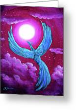 Turquoise Moon Phoenix Greeting Card