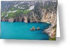 turquoise sea at Slieve League cliffs Ireland Greeting Card