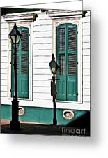 Turquoise Shutters Greeting Card
