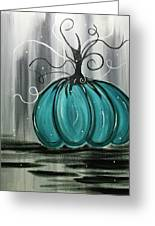 Turquoise Teal Surreal Pumpkin Greeting Card