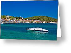 Turquoise Waterfront Of Rogoznica Tourist Destination Greeting Card