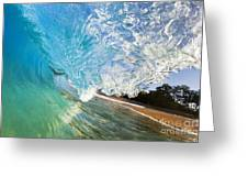 Turquoise Wave Tube Greeting Card
