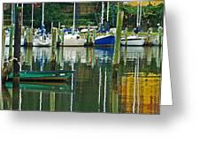 Turquoise Workboat In The Colorful Harbor Greeting Card