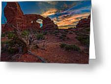 Turret Arch At Sunset Greeting Card