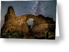 Turret Arch Milkyway, Arches National Park, Utah Greeting Card