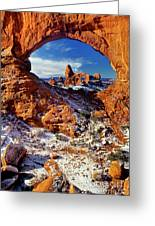 Turret Arch Through North Window Arches National Park Utah Greeting Card
