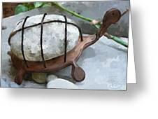 Turtle Full Of Rocks Greeting Card