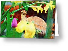 Turtle In The Tulips Greeting Card