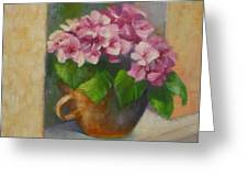 Tuscan Flower Pot Oil Painting Greeting Card