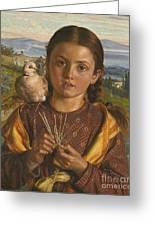Tuscan Girl Plaiting Straw Greeting Card